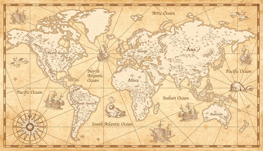 vintage map global economy